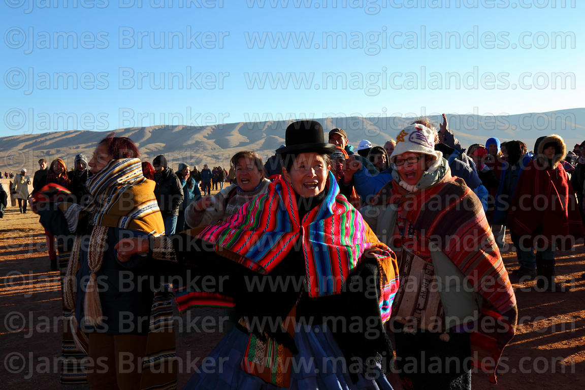 Local people dancing during Aymara New Year celebrations, Tiwanaku, Bolivia