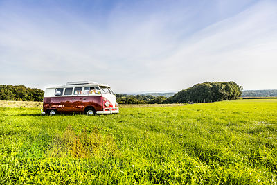 Van parked on field in rural landscape