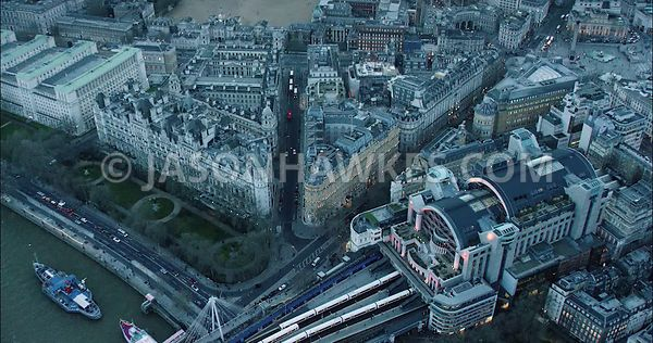 London Aerial Footage of Charing Cross Station.