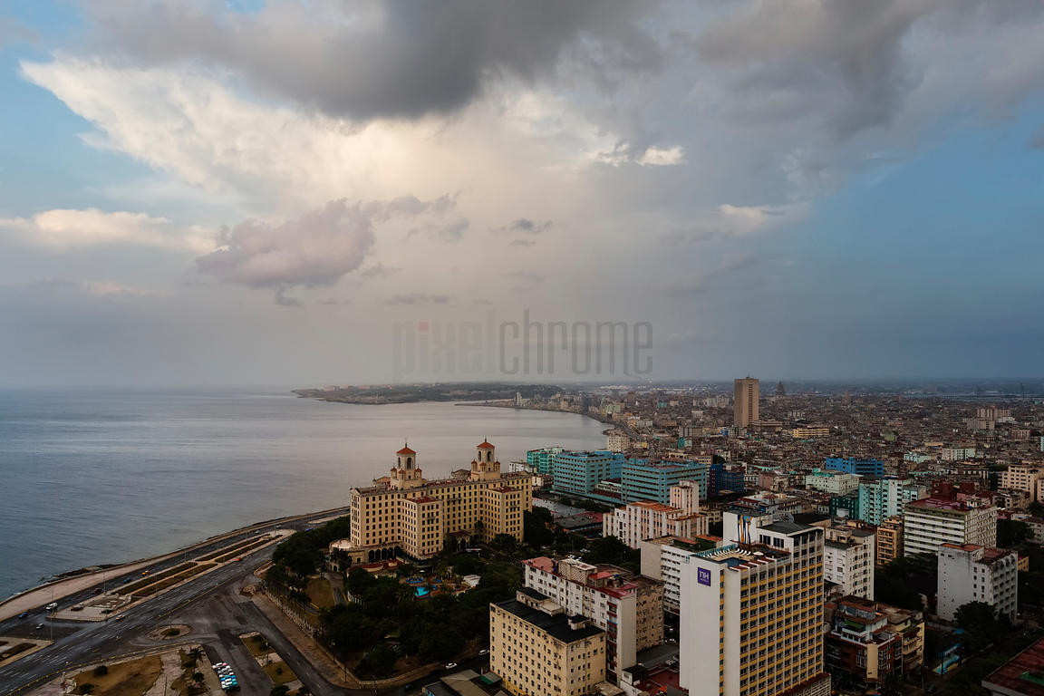 Skyline of Havana from the FOCSA Building During a Rain Shower