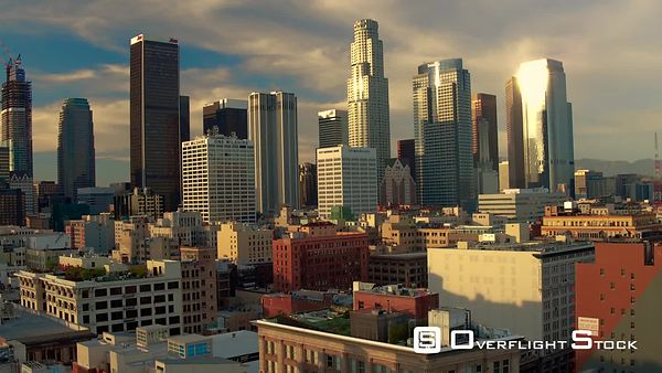 Downtown Los Angeles Sunset Boom Pull up Aerial Drone California