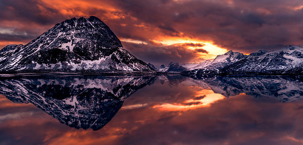 Fiery sunset on Lofoten
