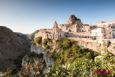 San Pietro caveoso church at sunrise, Sassi di Matera, Italy