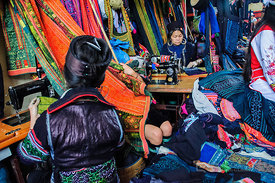 Sewing in Hill Tribe Traditional Clothing Market