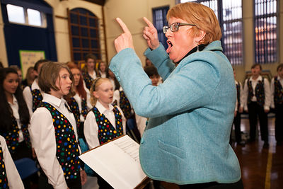 UK - Scunthorpe - Sue Hollingsworth, head of the Scunthorpe Cooperative Junior Choir leads a rehearsal for a production of Cy...