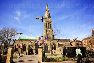 Leicester Cathedral Against a Brilliant Blue Sky,