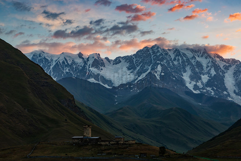 Shkhara Mountain and the Lamaria Church at Dawn