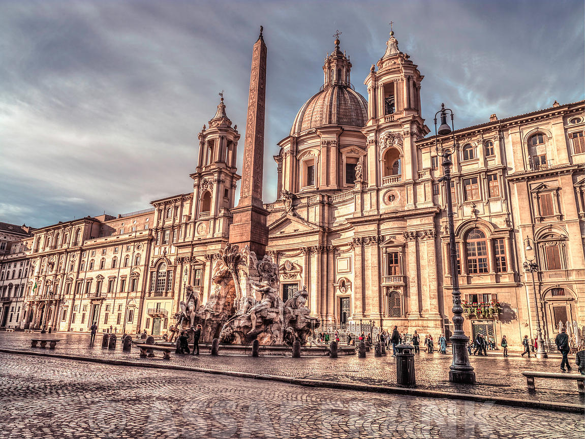 Piazza Navona and Fountain of Neptune. Rome, Italy