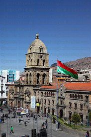 San Francisco church and La Paz city flag, Bolivia
