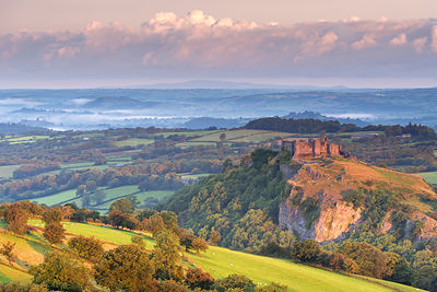 Carreg Cennen Castle in summer. Brecon Beacons, Carmarthenshire, Wales, UK. August 2014.