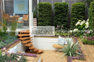 Carpinus communis, Garden chair, garden designer, Garden furniture, Garden table, Hedge, Perennial, Stair, Terrace, Trellis, Contemporary Terrace, Wooden Terrace, Digital, Silver spear, Trimmed hedge