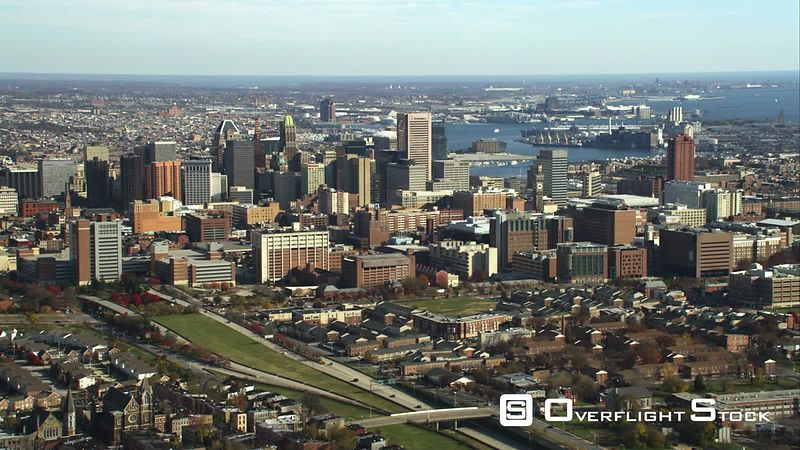 Approaching downtown Baltimore, Maryland. Shot in November