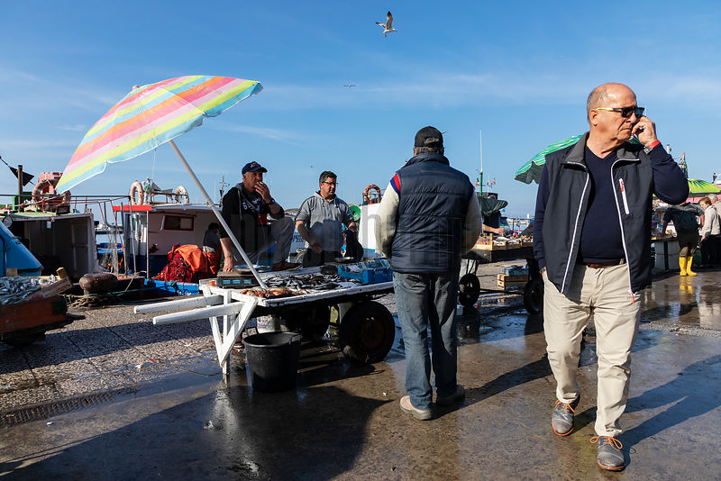 Scene from the Fish Market at the Port of Trapani