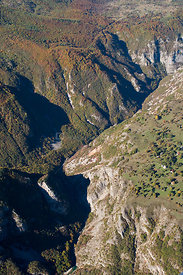 Aerial view of Nevidio, Komarnica Canyon, Durmitor NP, Montenegro, October 2008
