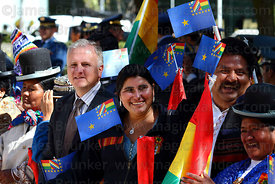 MAS ( Movimiento al Socialismo ) party members holding Maritime Vindication flags before start of official events for Dia del...