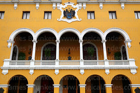 Facade of Municipal Palace / City Hall building, Lima, Peru
