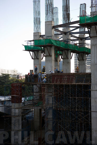 Builders working on a construction project