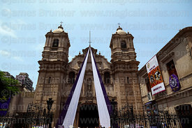 Exterior of Las Nazarenas church, home to Señor de los Milagros, Lima, Peru