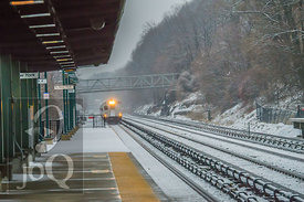 Arriving Train in snowfall