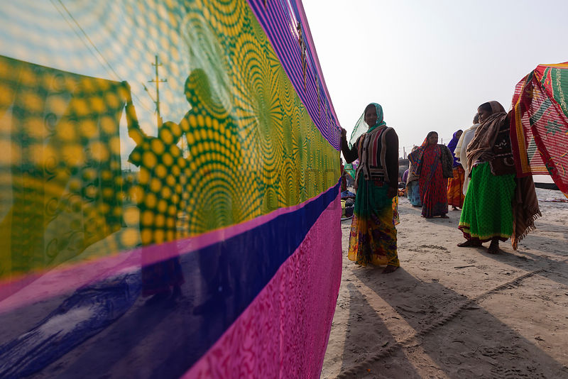 Bihari Women Drying Saris