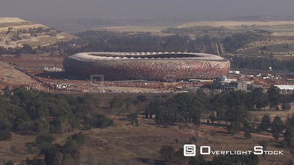 Aerial shot of Soccer City Stadium in Johannesburg. Johannesburg Gauteng South Africa