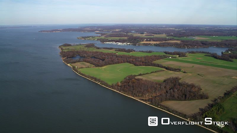 High view of coastal farmland east of Chesapeake Bay, Maryland. Shot in November