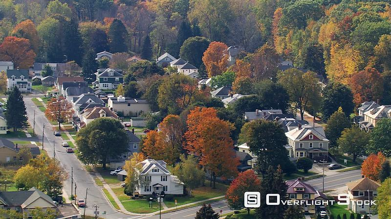 Flight over neighborhood in Pittsfield, Massachusetts