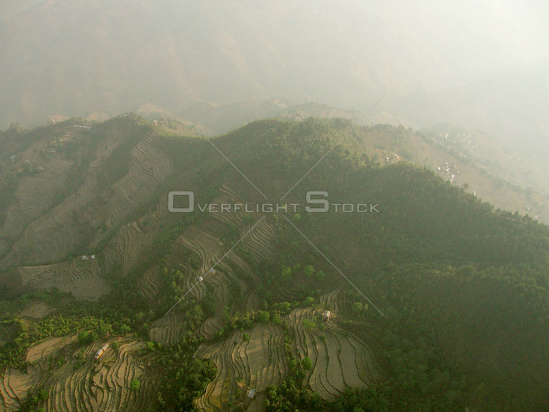NEPAL Nr Kathmandu -- 16 Apr 2005 -- Aerial photo of terraced farmland near Kathmandu. Scientists have warned that rising tem...