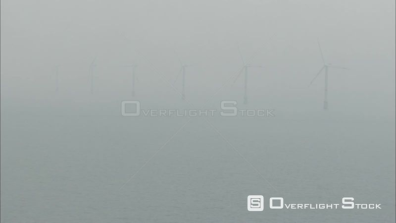 Offshore wind turbines in fog Belgium