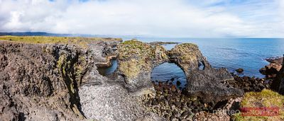 Panoramic of natural rocky arch, Snaefellsnes, Iceland