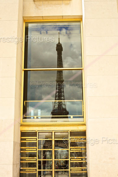 Reflection of The Eiffel Tower on the Palais de Chaillot,