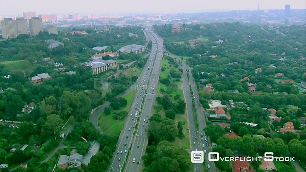 Aerial shot of the highway going into Johannesburg. Pretoria Gauteng South Africa