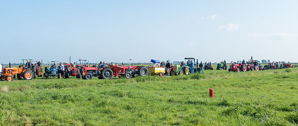 Katwoude, Netherlands - 2018-09-02: Participants get ready for the oldtimer tractor tour