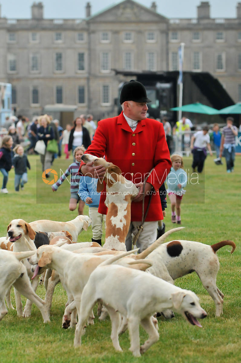Hunstman Neil Coleman with the Cottesmore Hounds in front of Burley House