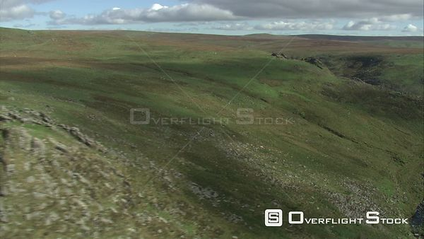 Aerial view tracking over the Tavy Cleave, Dartmoor National Park, Devon, England, UK, October 2015.