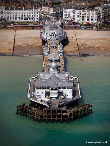 aerial photograph of Eastbourne Pier East Sussex England UK