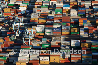 Aerial Virginia Cargo Ship Containers