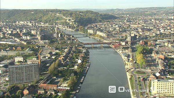 Flying above the Meuse (Maas) River in Namur, Belgium