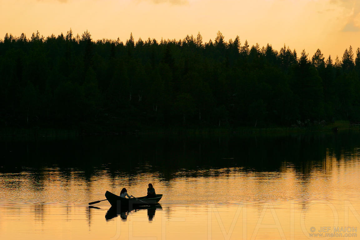 Rowing at sunset