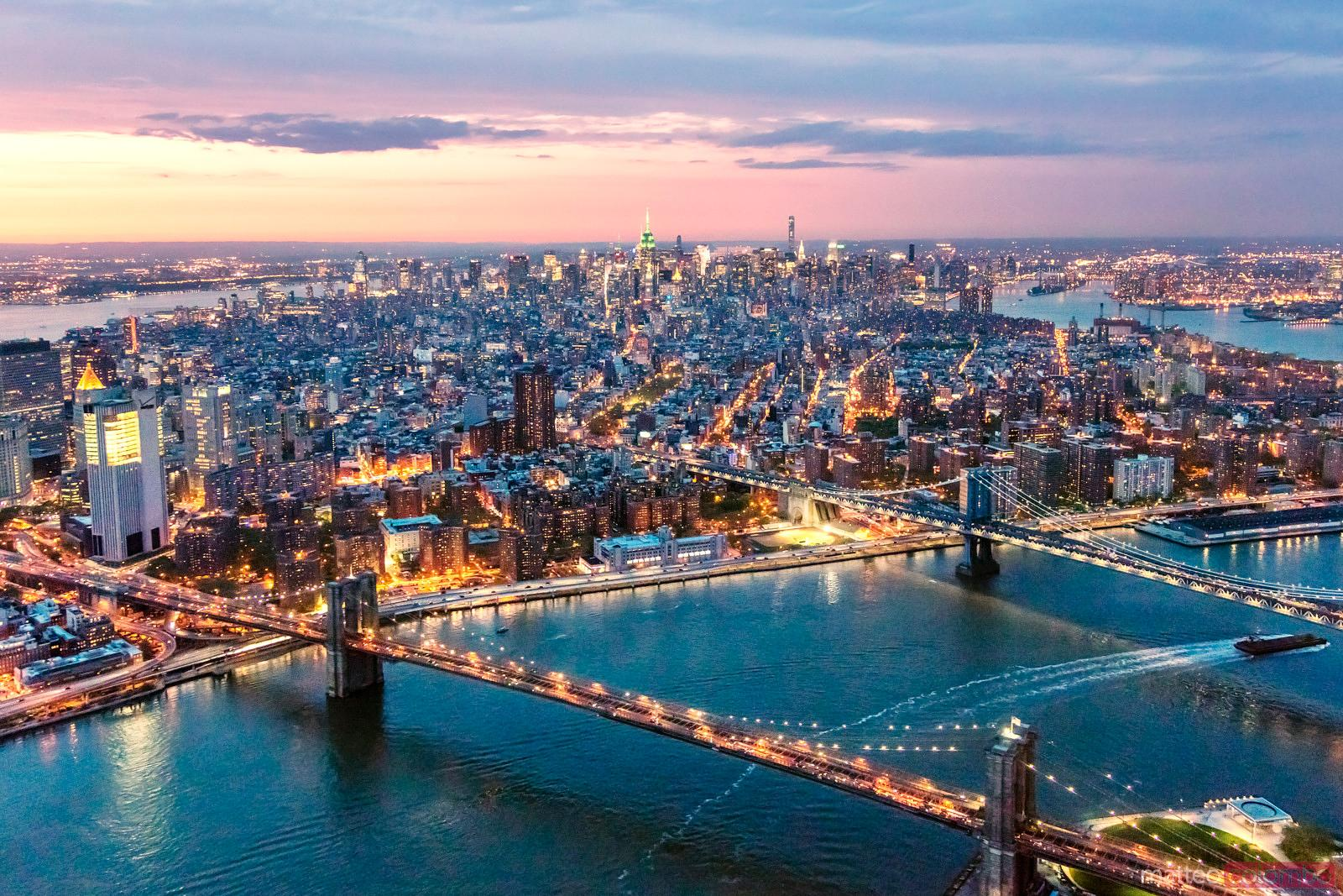 Aerial of Midtown Manhattan at dusk, New York city, USA