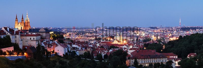 Elevated View of Prague Skyline at Dusk