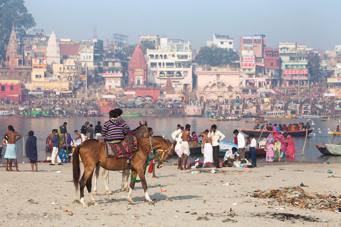 Hindu pilgrims ride horses and bathe along the Ganges River, Varanasi, India.