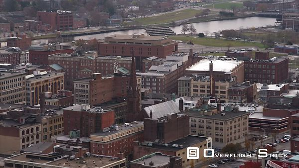 Over Older Area of Providence, Rhode Island, Past Historic Grace Church. Shot in November