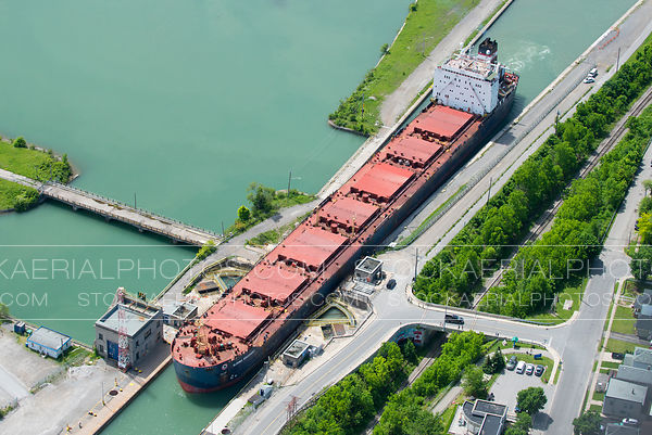 Cargo Ship in Saint Lawrence Seaway Locks