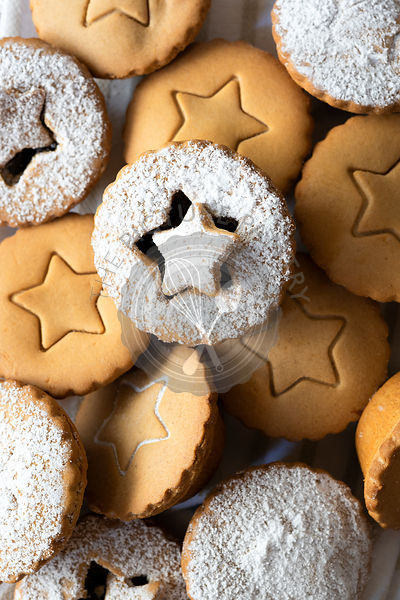 Close-up view of a selection of fruit mince pies.