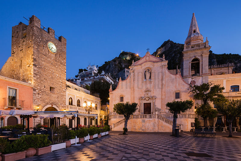 Piazza IX Aprile and the Church of San Giuseppe at Dawn