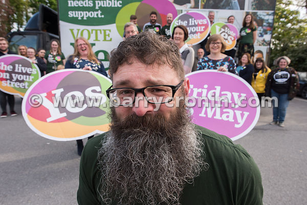 NO REPRO FEES - 11th May, 2018. Pictured at the 'Get Together For Yes' tour in Tralee is Paul Galvin and  volunteers and supp...