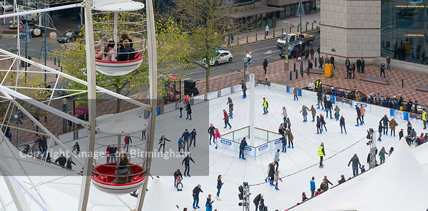 Ice rink and ferris wheel in Centenary Square, Birmingham