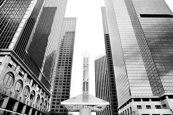FINANCIAL DISTRICT DOWNTOWN LOS ANGELES BLACK AND WHITE