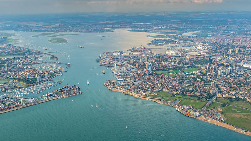 Aerial View of Portsmouth Harbour with Spinnaker Tower